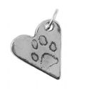 Paw Print Charm And Hammered Bangle